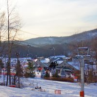 View from the Tomahawk Trail of the Tomahawk Express Quad and base lodge   Shawnee Mountain Ski Area2