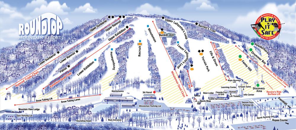Ski PA - PSAA - Roundtop Mountain Resort Ski Pennsylvania Map on home pennsylvania map, city pennsylvania map, ski slopes in pennsylvania, snow pennsylvania map, golf pennsylvania map, ski resorts in pa, skiing in pennsylvania map, montage mountain trail map, ski mountains in pennsylvania, skiing in pocono pa map, hunting pennsylvania map, drifting pennsylvania map, mountain pennsylvania map, ski big bear pennsylvania,